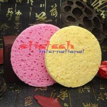 by ems or dhl 500pcs Natural Wood Fiber Face Wash Cleansing Sponge Beauty Makeup Tools Accessories Round Watermelon ,yellow(China)