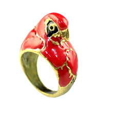 3 piece/lot, 17mm size Antique bronze Latest design alloy red enamel parrot head finger ring RN-588