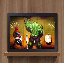 Toilet Hulk Thor Joker Spider Man Wolverine Marvel Heroes funny Toy Poster Wall Pictures Canvas Print Canvas painting Home decor(China)