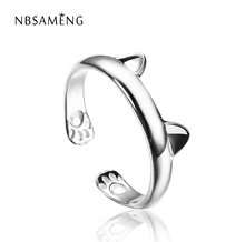 Silver Plated Cat Ear Ring Design Cute Fashion Jewelry Cat Ring For Women Young Girl Child Gifts Adjustable Anel WAA1002(China)