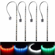 Best Price 30cm 4 Pin 5050 SMD 18 LED Light Neon Adhensive Strip Waterproof Dustproof Computer Case Flexible Strip Lamp DC12V