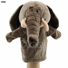 Cute Elephant Plush Velour Animals Hand Puppets Chic Design Kid Learning Aid Toy