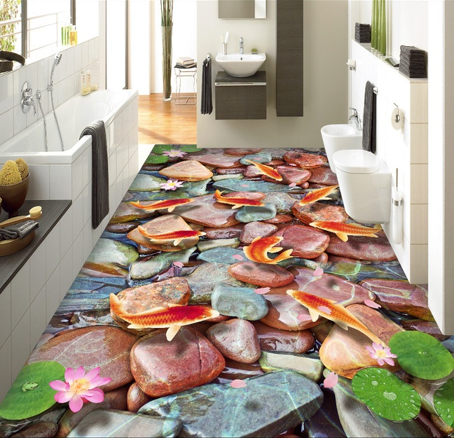 3 d flooring custom  wall sticker 3d Koi lotus stone 3d bathroom flooring painting photo wallpaper for walls 3d<br>