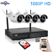 1080P Wireless CCTV System 2TB HDD 2MP 4CH Powerful NVR IP IR-CUT Bullet CCTV Camera IP Security System Surveillance Kits hiseeu