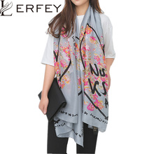 LERFEY Autumn Spring Long Scarf Women Big Size Imitated Silk Letter Floral Print Scarves Scarf Luxury Brand Shawl Hijab Pashmina