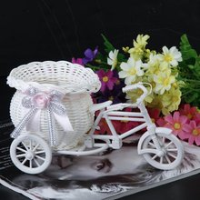 HGHO-2016 Hot Sale New Plastic White Tricycle Bike Design Flower Basket Container For Flower Plant Home Weddding Decoration
