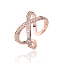 Wholesale Exquisite Cross Open Rings Tiny CZ Paved Fashion Wedding Ring Rose Gold Color Jewelry for Bridal Top Quality