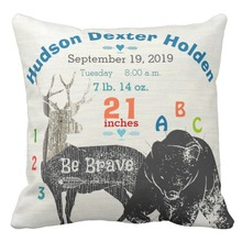 Name Custom Canvas Cushion Cover 45*45cm Baby Birth Stats Throw Pillow Cases,Bear Deer Sofa Decorative Pillow Cover,Home Decor