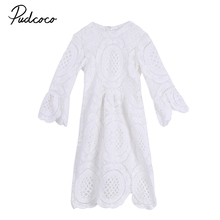 2-7Y Princess Children Girls White Lace Dress Brand New Long Sleeve Toddler Kids Elegant Party Dresses One Pieces Clothing