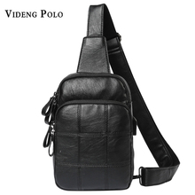 VIDENG POLO Men Bag 2017 New Brand Leather Crossbody Shoulder Bags Casual Grid Man Chest Bags Fashion Sling Bag Bolsos Mochila