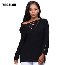 YOCALOR 2017 Long Lace Up Best Christmas Sweater Long-sleeved Woman Pullover Knitting Autumn Women Jersey Winter Fall Ladies