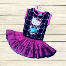 4 ages girls cotton hello kitty dress kids fashion summer cartoon dress free shipping AAIA