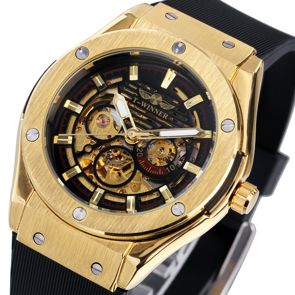 WINNER Luxury Mens Mechanical Watches Rubber Strap Male Automatic Skeleton Wrist Watches Luminous Hands Gift for Male +box<br><br>Aliexpress