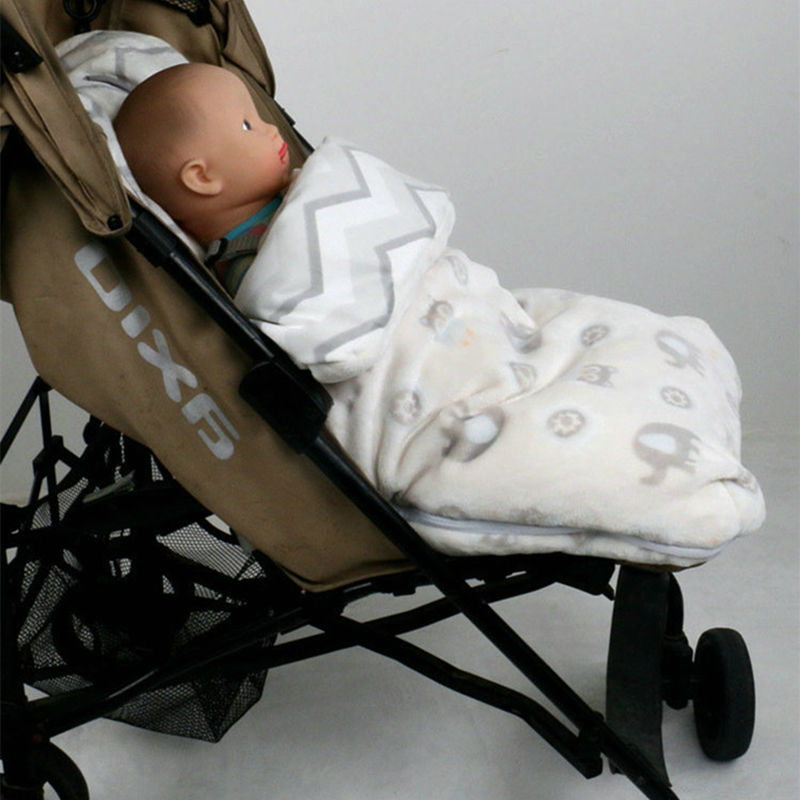 Soft Baby Stroller Sleeping bag Coral Cashmere Baby Sleeping Sacks Hinfant Stroller Footmuff Pram Warmer Booties <br>