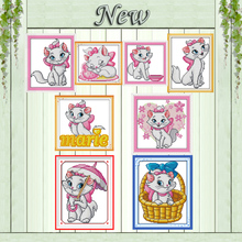 Lovely Pink cat cartoon decor painting counted print on canvas DMC 11CT 14CT Chinese Cross Stitch kits embroider needlework Sets