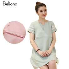 Solid Mini Nursing Dress Short Sleeve Breastfeeding Clothes 2017 Summer Maternity Dress Cotton Pregnancy Clothing