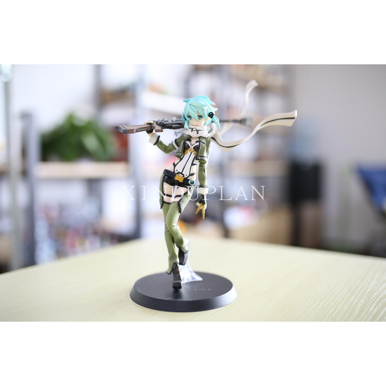 XINDUPLAN Sword Art online Japanese Anime Asada Shino Sinon Kirito Asuna Action Figure Toys 22cm PVC Collection Gifts Model 0458<br>