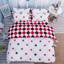 Fashion Poker 4Pcs Twin/Full/Queen/King Size Bedding Linen Quilt/Duvet/Doona Cover Set&Sheet Pillowcases White Red Black Checked