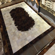 Dark Brown/Ivory/Grey/White Natural Cow Hide Patchwork Area Rug For Living Room/Dining Room/Bedroom(China)
