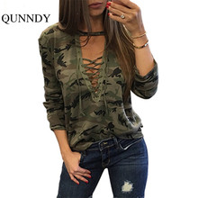Ukraine Camouflage bandage t shirt women V-neck long sleeve street t-shirts army green tops plus size camisa mujer 2017