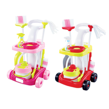 Kids Girl Vacuum Cleaner Cleaning Tool Cart Trolley Children Role Play Toy