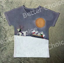 Track Ship+New Vintage Retro T-shirt Top Tee White Scottie Terrier Dog Baby Reindeer Sled on Snow Mountain 0971