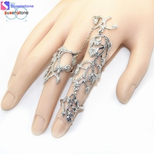 SUSENSTONE Rings Multiple Finger Stack Knuckle Band Crystal Set Womens Fashion Jewelry(China)