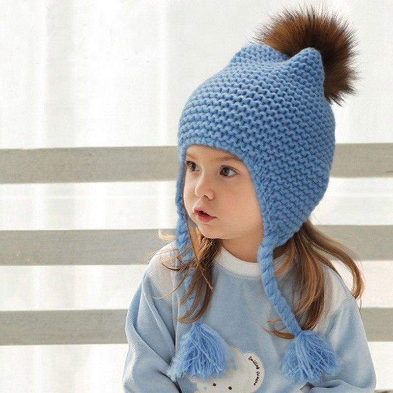 Children Winter Warmer Ears Cap Knitted Boys Girls Beanies with Fur Pompom Twist Braid Hats Crochet Hat Kids Knitting CapsÎäåæäà è àêñåññóàðû<br><br><br>Aliexpress