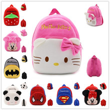 High Quality Hello Kitty/Minnie/Superman/Spider man/ kid's Plush Backpack Cartoon Toys Girls&boys bags(China)
