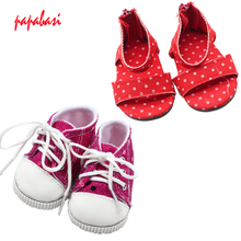 1pair dolls shoes For 18inch American girl shoes, sandals, Boots high heels children Christmas gift free shipping