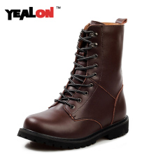 YEALON 2016 Winter And Autumn Fashion Trend Of Men's Boots Rubber Snow Men Boots Leather Boots For Men Big Size 38-48