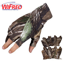 Wifreo Camouflage Fishing Gloves Half fingers light glove hand wear Pole / Bank / Carp Fishing for Spring Summer Autumn Flex