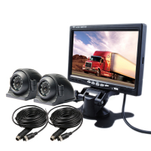 "FREE SHIPPING 12V - 24VDC 4Pin 2CH 7"" LCD Car Reversing Monitor 2 Pcs Rear Side Front View Car Camera System for Bus Van Truck"