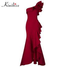 Buy Kinikiss Women Ruffle Floor-Length Dress Red Sexy One Shoulder Asymmetrical Long Dress Lady Elegant Evening Night Party Dress for $29.92 in AliExpress store