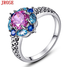 JROSE Beauty Flower Cluster Women Pink & Blue & White CZ Jewelry White Gold Color Ring Size 6 to 13 Wholesale Wedding Gifts
