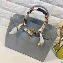bag ladies women handbag furly candy handbag fashion big size PVC Silicone jelly handbags lock ribbons Beach bags with scarf