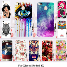 Silicone Phone Cover Cases For Xiaomi Redmi 4X 5.0 inch Painted Cases Covers Shell Hard Plastic Rose Cat Cover Bags Housing 4X