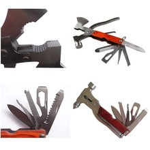 Multi-function Outdoor Travel Survival Stainless Hammer Axe AX Pliers Knife Screwdriver Folding Camping Tool Set V2