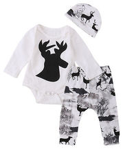 3pcs Newborn Baby Girl Boy Deer Romper+Pants+Distinctive Leggings hat Baby Coming Home Outfits Clothing Sets(China)