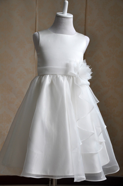 New Arrival White Tulle Pretty Flower Girl Dresses  Ball Gown Belt Mid-Calf Girls First Communion Dress Party Dress<br>