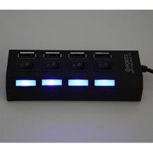 Kebidu 4 Порты и разъёмы USB 2.0 концентратор Splitter светодиод высокой Скорость внешний нескольких USB HUB с Мощность включения/выключения кабель для П...(China)