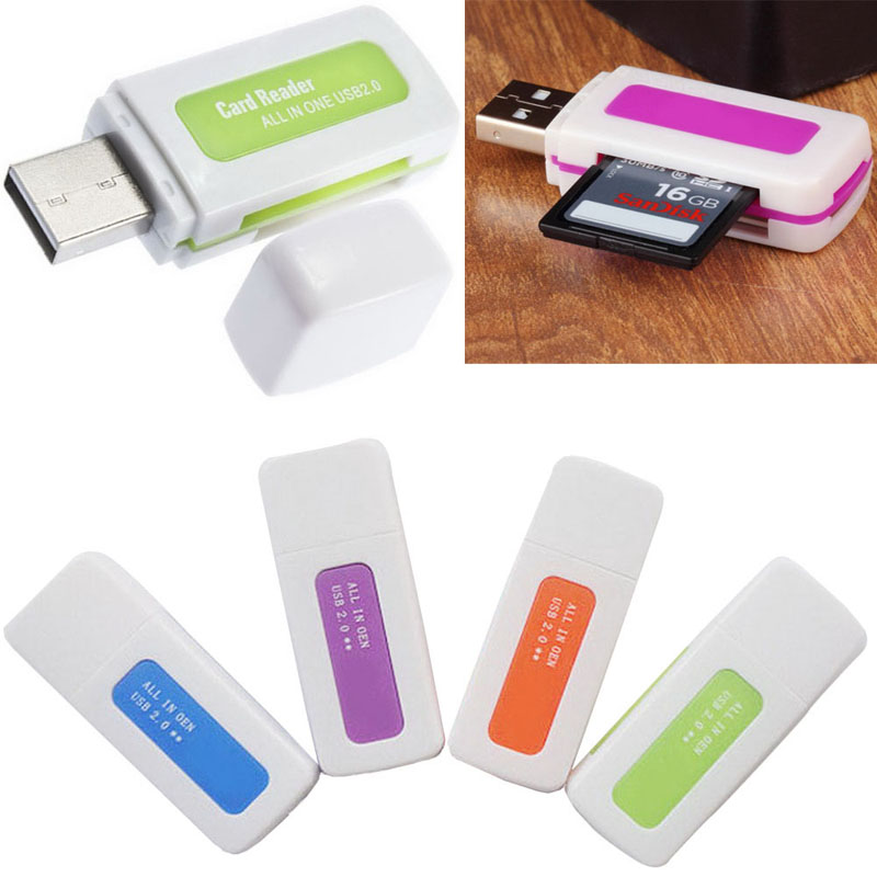 5 Pieces/Lot portable 4 in 1 Memory Multi Card Reader USB 2.0 for SD/TF/T-Flash/M2 Memory Cards Readers VC393 P66(China (Mainland))