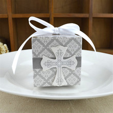 100pcs New European Style Wedding Candy Box Corss Pattern with Ribbon Elegant Candy Boxes Happy Birthday Candy Box Free Shipping