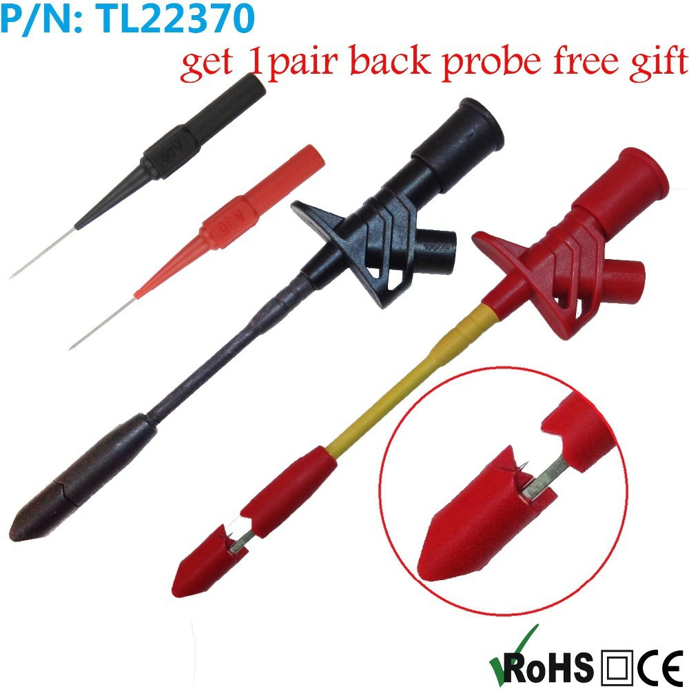 2pcs* TL22370 Full Insulated Heavy-Duty Insulation Piercing Probe Automotive test Clip + 1pair free back probes+1pcs PP BOX<br><br>Aliexpress