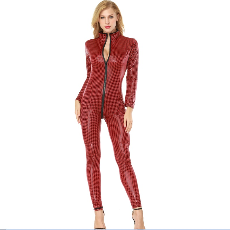 ENGAYI Women Fashion Faux Leather Latex Zipper Crotch Porn sexy Costumes Lenceria Sexy Underwear erotic lingerie Nuisette A1078