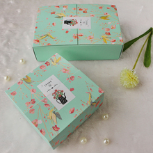 10pcs/lot Flower Flower Flora Green Square Rectangle Cookie Boxes Korean Small Chocolate Box Macaron Box Gift Packaging