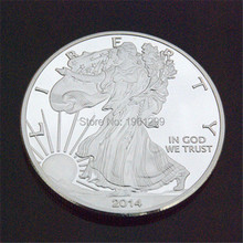 Free shipping 2014 1 Troy Oz .999 Fine Silver American Eagle Coins/The light of freedom eagle souvenir coin.100pcs/lot(China)
