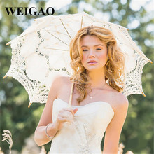 WEIGAO 1pcs Lace Umbrella Cotton Embroidery White/Beige Lace Parasol Umbrella Wedding Umbrella Bride Shower Party Supplies(China)