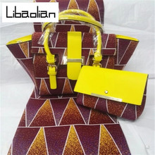 Fashion High quality Super Wax Hollandais with Women Leather Patchwork Handbag Set African Wax Prints Fabric for Party G712-08(China)