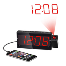 Projection LED Alarm Clock Dimmable Digital Alarm Clock FM Radio with 1.8 LED Display USB Charging Port Dual Alarm Battery